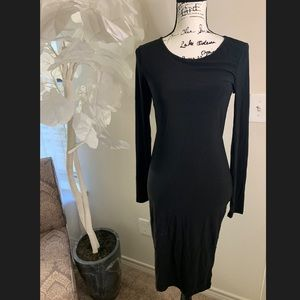 Sexy black long sleeve midi dress with open back